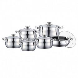 Set 6 Cratite Inox Cu Capac Peterhof Ph-15773, 2.1 L, 2.9 L, 3.9 L, 6.5 L, 3.4 L