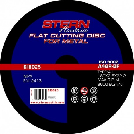 Set 5 Discuri Abrazive Taiere Metal Stern G18025, Pentru Polizor Unghiular, 180 X 2.5 Mm