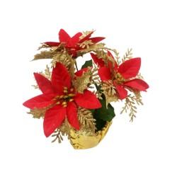 Floare artificiala in ghiveci, Craciunita, material textil, ghiveci PVC, inaltime 21 cm, diametru coroana 17 cm Sd40008